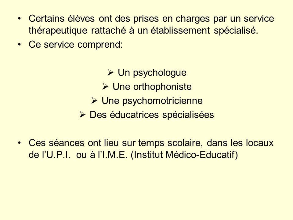 Certains élèves ont des prises en charges par un service thérapeutique rattaché à un établissement spécialisé. Ce service comprend: Un psychologue Une