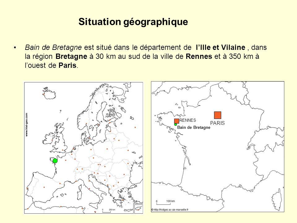 Situation géographique Bain de Bretagne est situé dans le département de lIlle et Vilaine, dans la région Bretagne à 30 km au sud de la ville de Renne