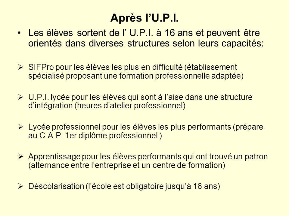 Après lU.P.I. Les élèves sortent de l U.P.I. à 16 ans et peuvent être orientés dans diverses structures selon leurs capacités: SIFPro pour les élèves