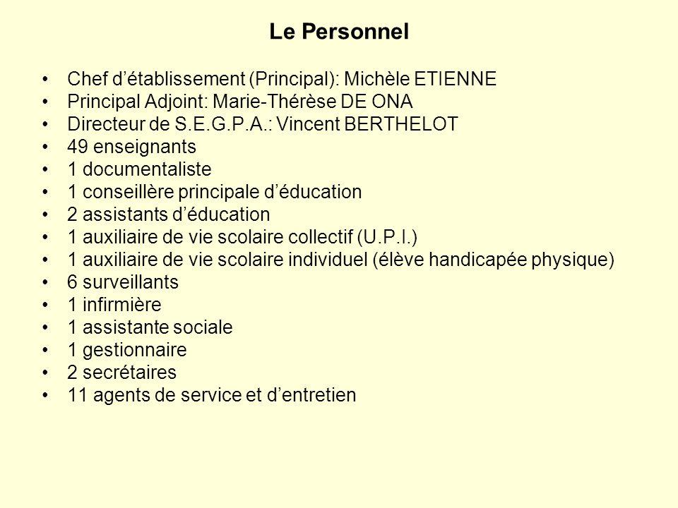 Le Personnel Chef détablissement (Principal): Michèle ETIENNE Principal Adjoint: Marie-Thérèse DE ONA Directeur de S.E.G.P.A.: Vincent BERTHELOT 49 en