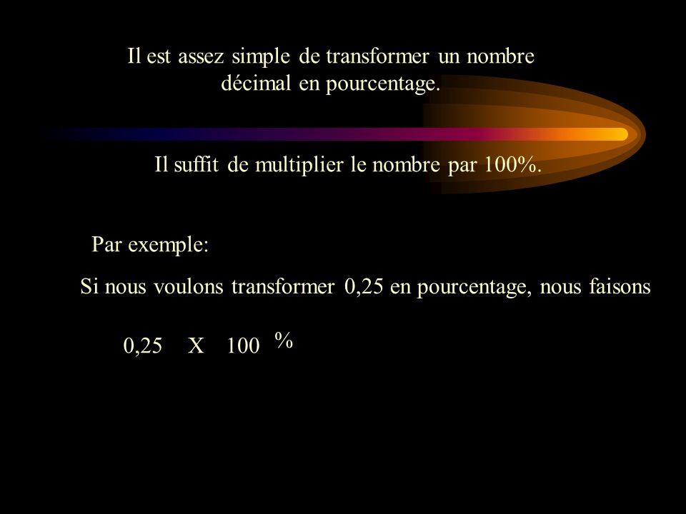 Transformation dun nombre décimal en pourcentage Maintenant que nous savons comment transformer une fraction en nombre décimal, nous allons transforme