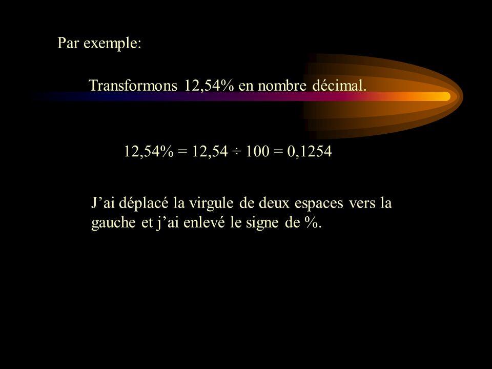 Transformation dun pourcentage en nombre décimal Pour transformer un pourcentage en nombre décimal, on divise par 100. Alors au lieu de déplacer la vi
