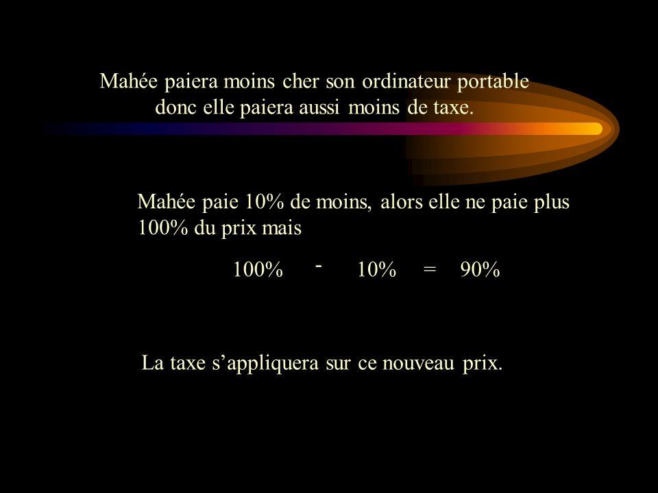 Effectuons les calculs: 1298,99 X (100% + 12,95%)= Si jutilise le même problème mais, cette fois-ci, Mahée profite dun rabais de 10 %. Ceci affectera