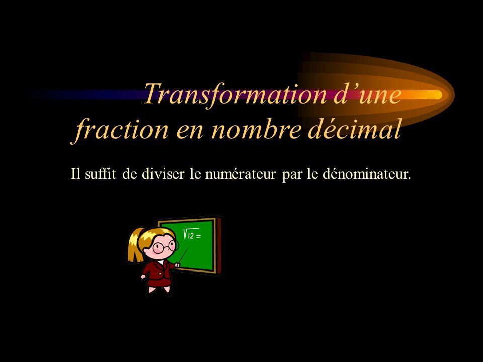 Dans une fraction, la partie concernée se nomme le numérateur et le tout se nomme le dénominateur.