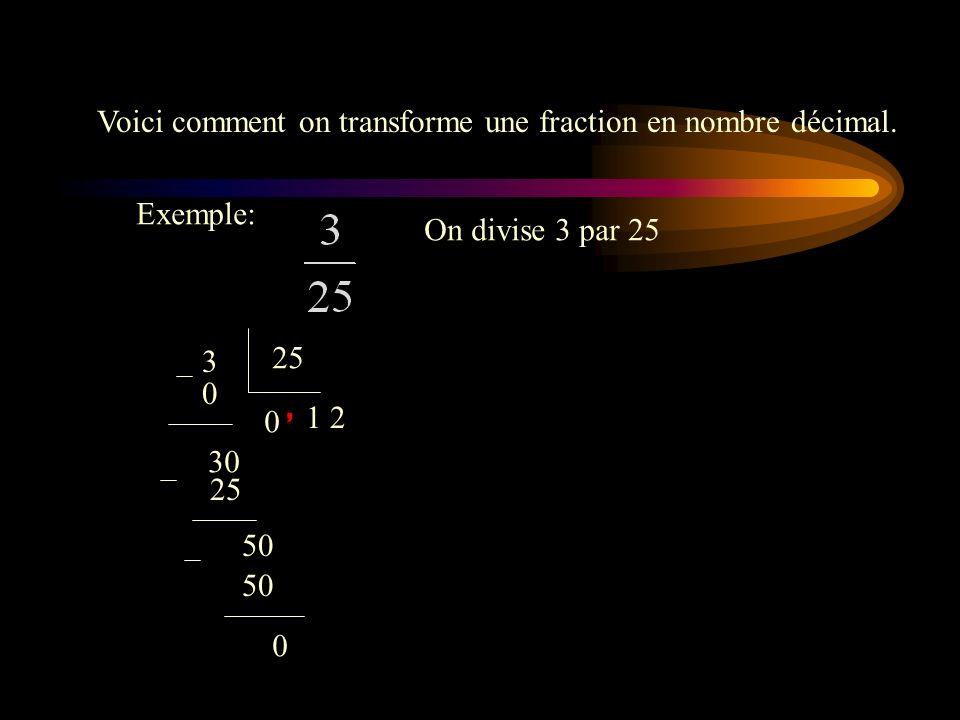 Voici comment on transforme une fraction en nombre décimal.