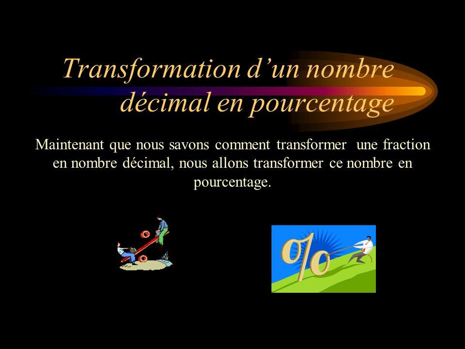 Transformation dun nombre décimal en pourcentage Maintenant que nous savons comment transformer une fraction en nombre décimal, nous allons transformer ce nombre en pourcentage.