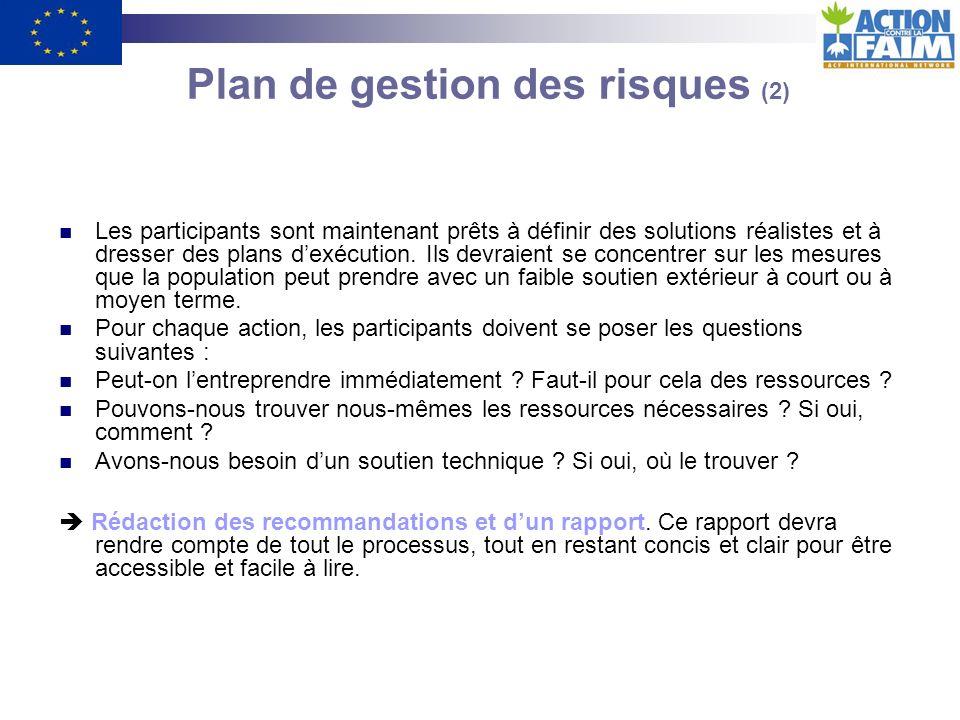 Plan de gestion des risques (1) Après avoir procédé à lanalyse préliminaire des données, les observations devraient être présentées pour approbation aux représentants de la communauté.