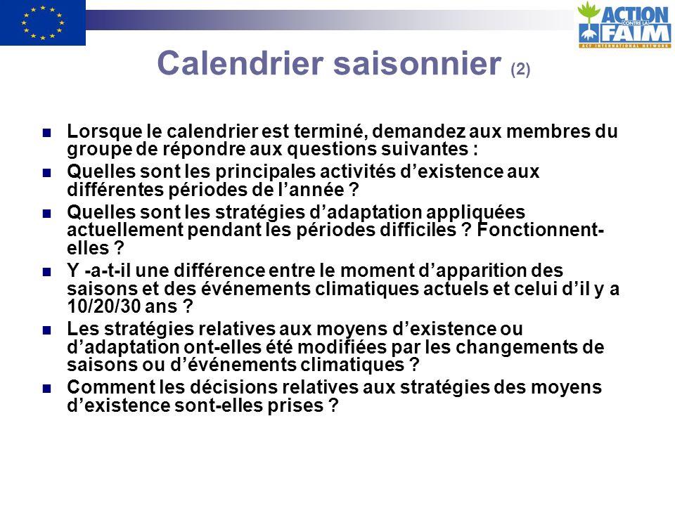 Calendrier saisonnier (1) OBJECTIFS : - Identifier les périodes de tensions, daléas, de maladies, de disette, de dettes, de vulnérabilité, etc.