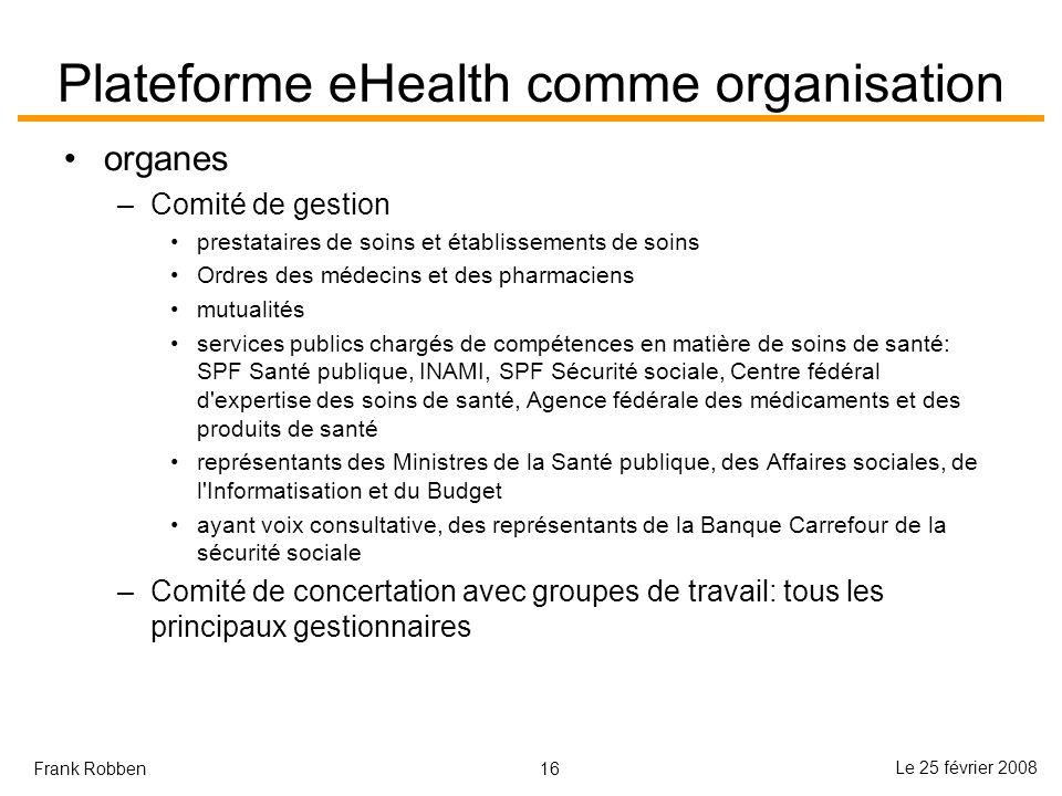 16 Le 25 février 2008 Frank Robben Plateforme eHealth comme organisation organes –Comité de gestion prestataires de soins et établissements de soins O