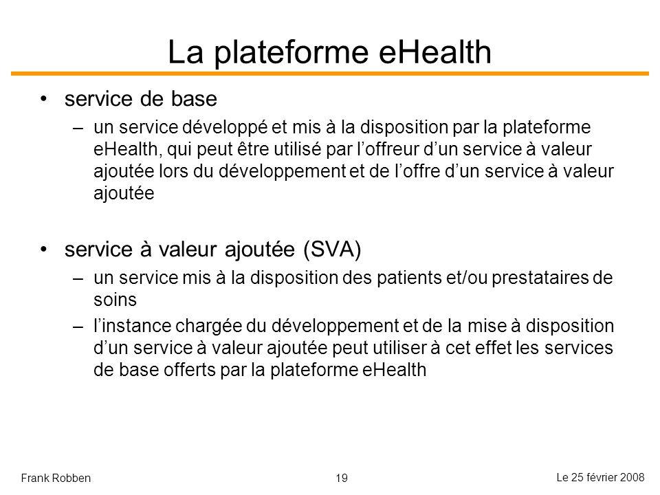 19 Le 25 février 2008 Frank Robben La plateforme eHealth service de base –un service développé et mis à la disposition par la plateforme eHealth, qui