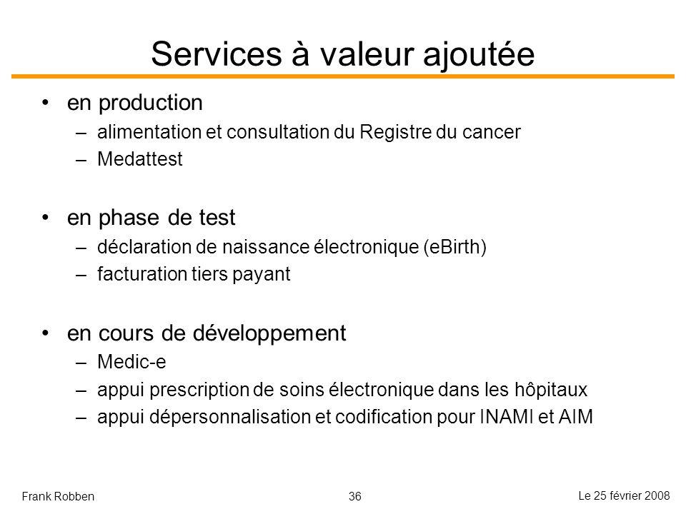 36 Le 25 février 2008 Frank Robben Services à valeur ajoutée en production –alimentation et consultation du Registre du cancer –Medattest en phase de