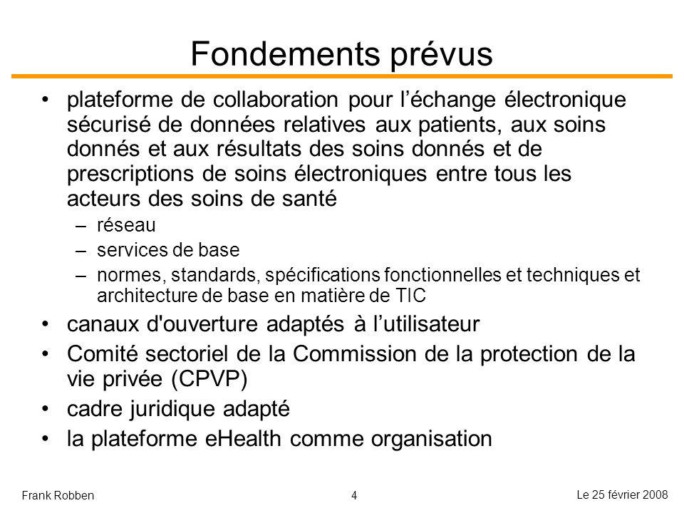 4 Le 25 février 2008 Frank Robben Fondements prévus plateforme de collaboration pour léchange électronique sécurisé de données relatives aux patients,