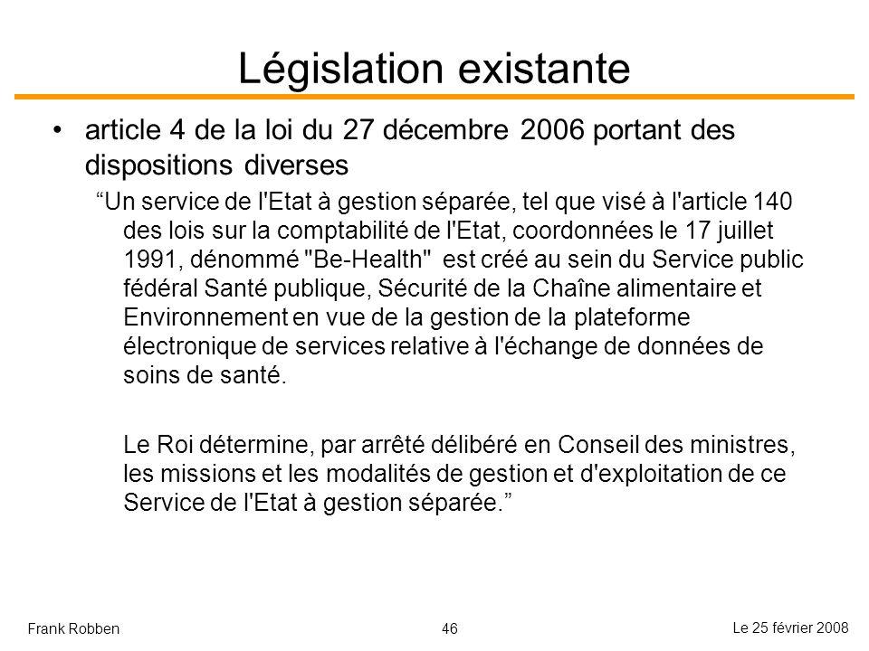 46 Le 25 février 2008 Frank Robben Législation existante article 4 de la loi du 27 décembre 2006 portant des dispositions diverses Un service de l'Eta