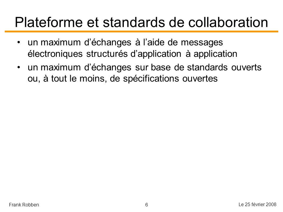 6 Le 25 février 2008 Frank Robben Plateforme et standards de collaboration un maximum déchanges à laide de messages électroniques structurés dapplicat