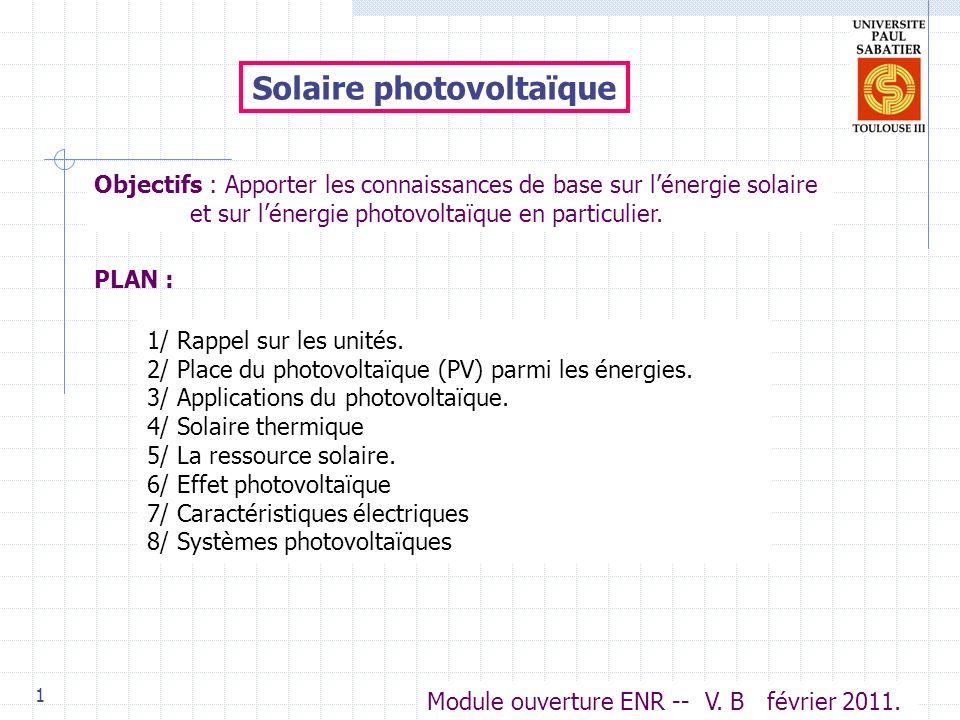 1 Solaire photovoltaïque PLAN : Objectifs : Apporter les connaissances de base sur lénergie solaire et sur lénergie photovoltaïque en particulier.
