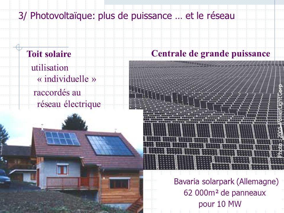 13 3/ Photovoltaïque: plus de puissance … et le réseau Bavaria solarpark (Allemagne) 62 000m² de panneaux pour 10 MW Photo : 2005 PowerLight Corp Toit solaire utilisation « individuelle » raccordés au réseau électrique Centrale de grande puissance