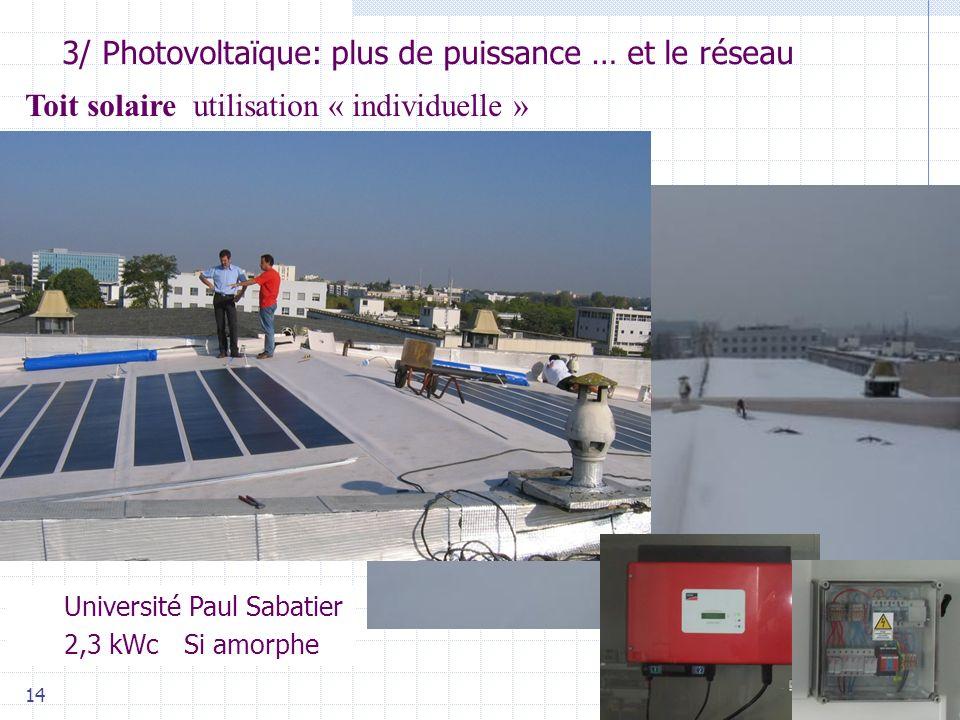 Université Paul Sabatier 2,3 kWc Si amorphe 14 3/ Photovoltaïque: plus de puissance … et le réseau Photo : 2005 PowerLight Corp Toit solaire utilisation « individuelle »