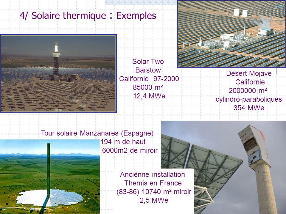 19 Solar Two Barstow Californie 97-2000 85000 m² 12,4 MWe 4/ Solaire thermique : Exemples Tour solaire Manzanares (Espagne) 194 m de haut 6000m2 de miroir Désert Mojave Californie 2000000 m² cylindro-paraboliques 354 MWe Ancienne installation Themis en France (83-86) 10740 m² miroir 2,5 MWe