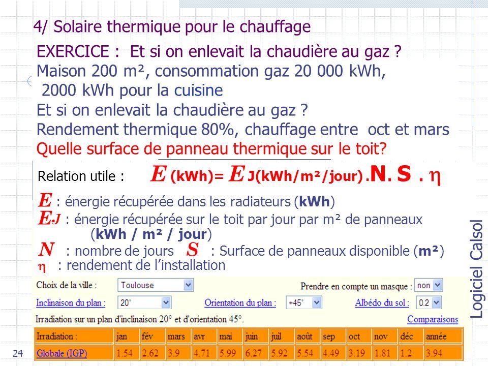 24 4/ Solaire thermique pour le chauffage Maison 200 m², consommation gaz 20 000 kWh, 2000 kWh pour la cuisine Et si on enlevait la chaudière au gaz .