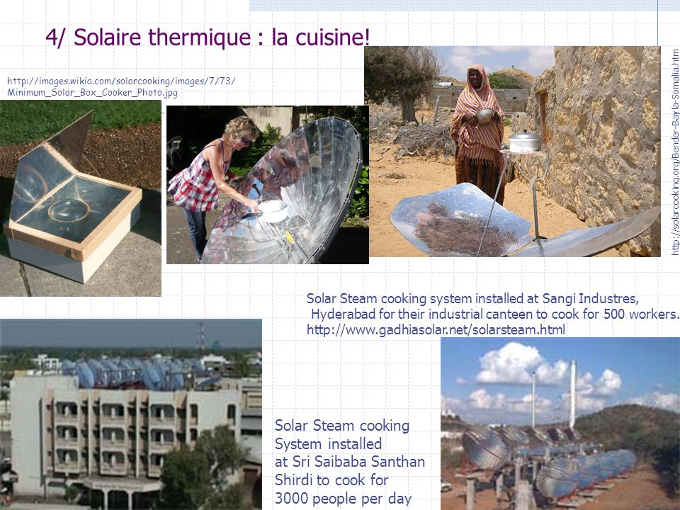 25 http://images.wikia.com/solarcooking/images/7/73/ Minimum_Solar_Box_Cooker_Photo.jpg http://solarcooking.org/Bender-Bayla-Somalia.htm Solar Steam c