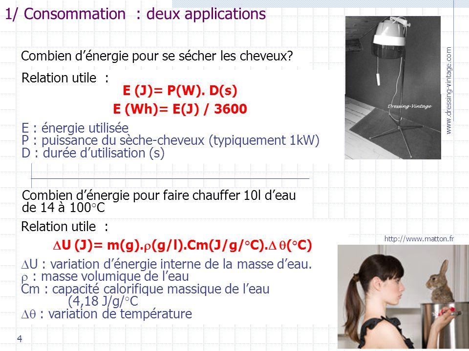 4 1/ Consommation : deux applications Combien dénergie pour se sécher les cheveux.