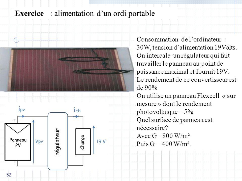 52 Exercice : alimentation dun ordi portable Consommation de lordinateur : 30W, tension dalimentation 19Volts.