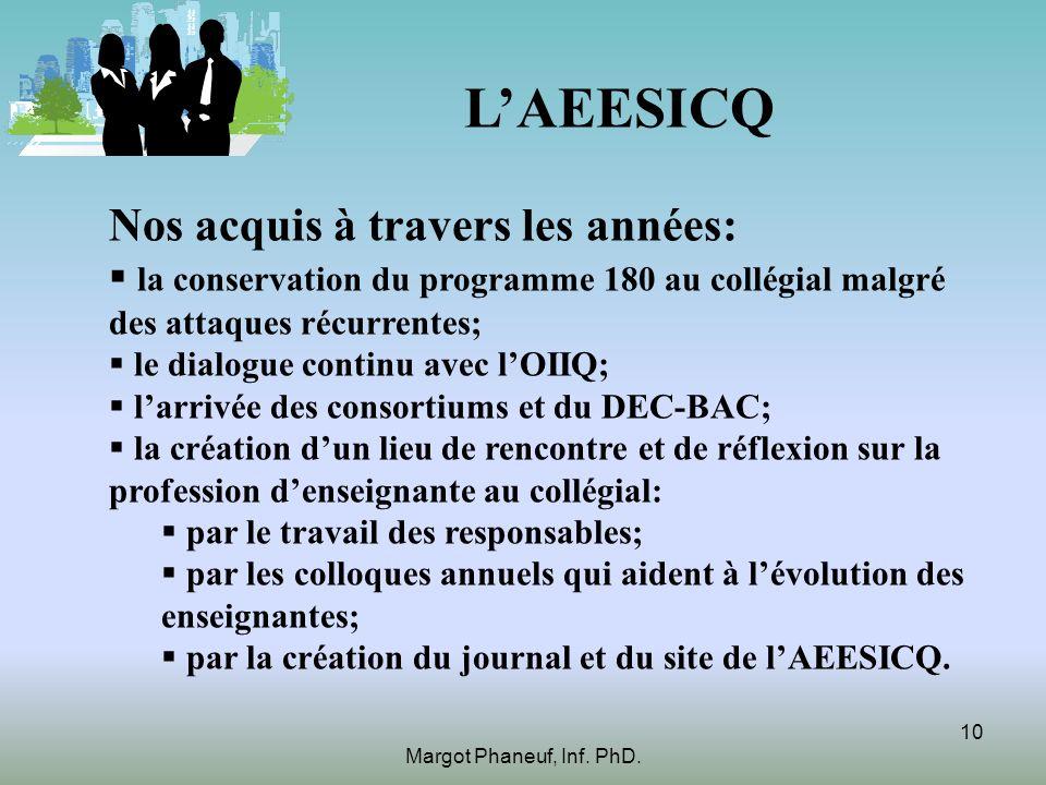LAEESICQ Nos acquis à travers les années: la conservation du programme 180 au collégial malgré des attaques récurrentes; le dialogue continu avec lOII