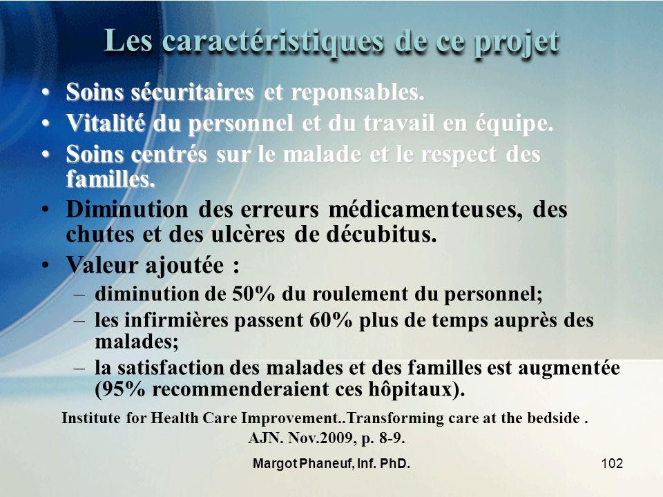102Margot Phaneuf, Inf. PhD. Les caractéristiques de ce projet Soins sécuritaires et reponsables.Soins sécuritaires et reponsables. Vitalité du person