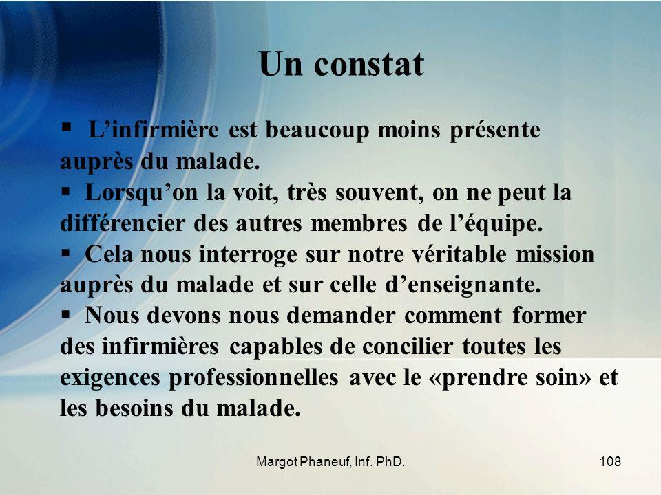 108Margot Phaneuf, Inf. PhD. Linfirmière est beaucoup moins présente auprès du malade. Lorsquon la voit, très souvent, on ne peut la différencier des