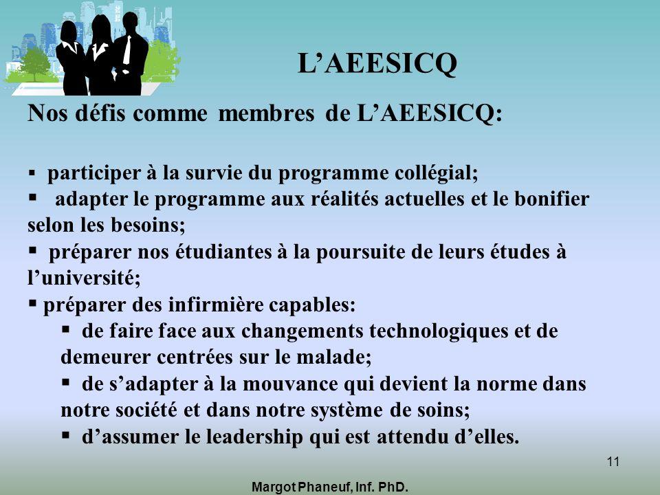 LAEESICQ Nos défis comme membres de LAEESICQ: participer à la survie du programme collégial; adapter le programme aux réalités actuelles et le bonifie