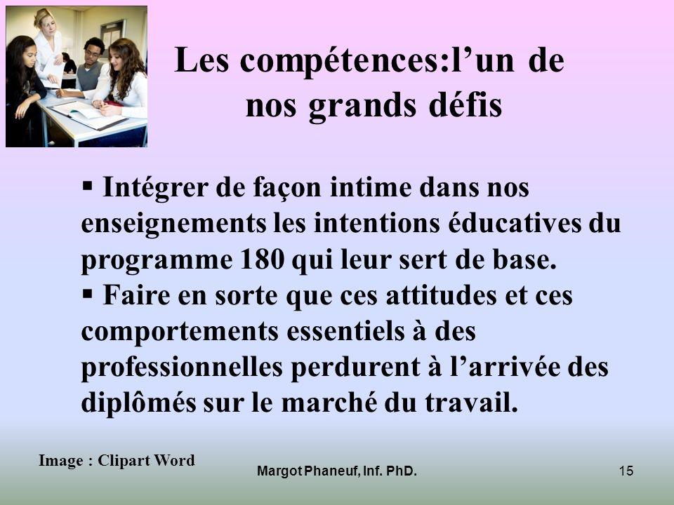 Les compétences:lun de nos grands défis Intégrer de façon intime dans nos enseignements les intentions éducatives du programme 180 qui leur sert de ba