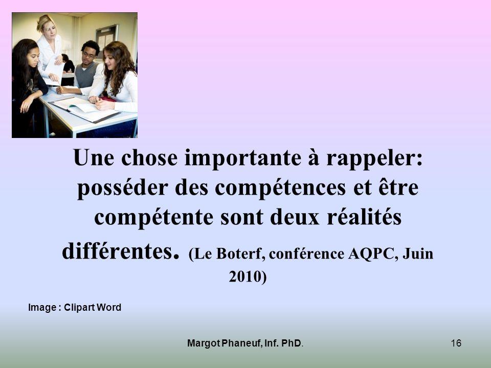 Une chose importante à rappeler: posséder des compétences et être compétente sont deux réalités différentes. (Le Boterf, conférence AQPC, Juin 2010) M