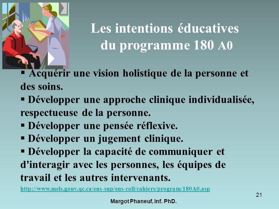 Les intentions éducatives du programme 180 A0 Acquérir une vision holistique de la personne et des soins. Développer une approche clinique individuali
