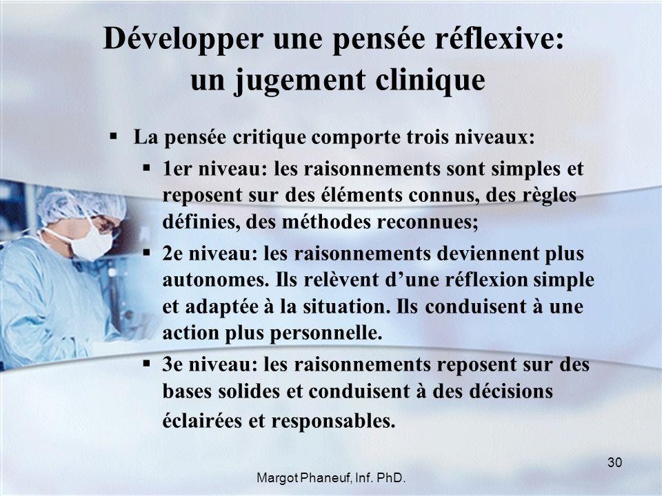 Développer une pensée réflexive: un jugement clinique La pensée critique comporte trois niveaux: 1er niveau: les raisonnements sont simples et reposen