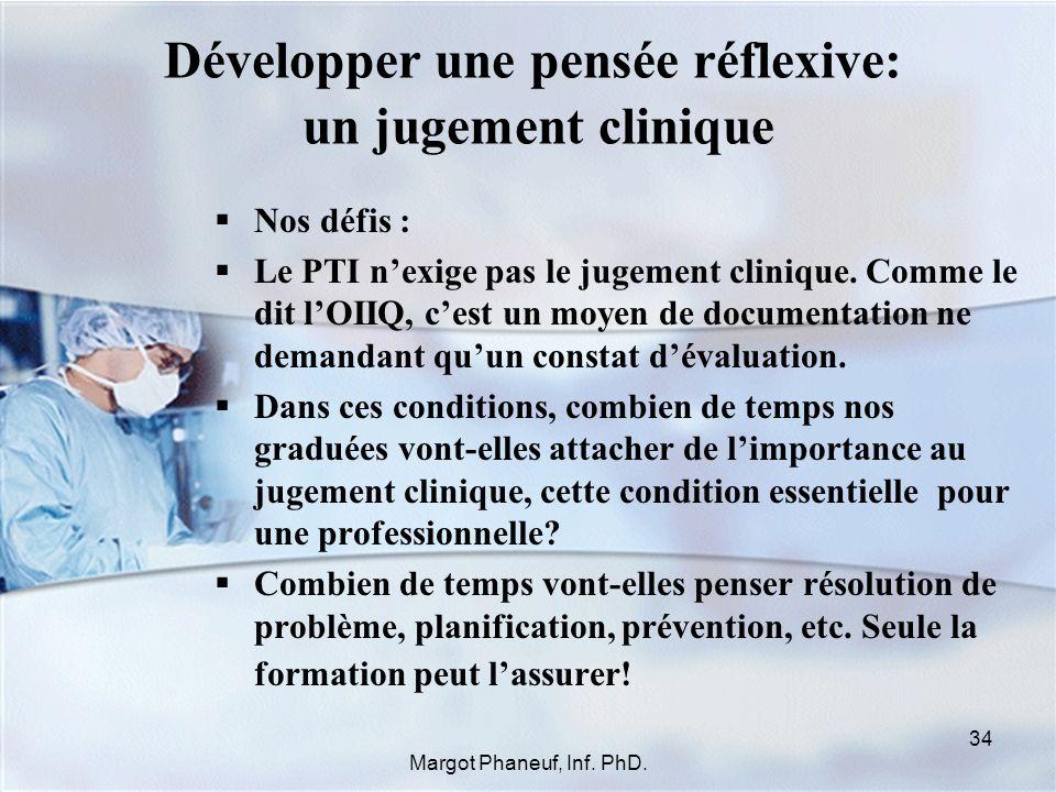 Développer une pensée réflexive: un jugement clinique Nos défis : Le PTI nexige pas le jugement clinique. Comme le dit lOIIQ, cest un moyen de documen
