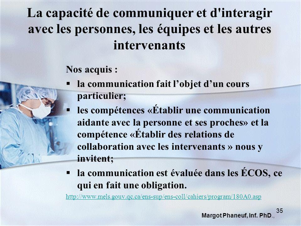 La capacité de communiquer et d'interagir avec les personnes, les équipes et les autres intervenants Nos acquis : la communication fait lobjet dun cou