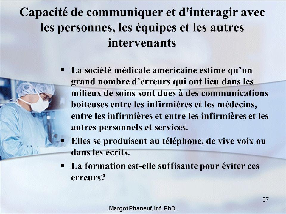 Capacité de communiquer et d'interagir avec les personnes, les équipes et les autres intervenants La société médicale américaine estime quun grand nom