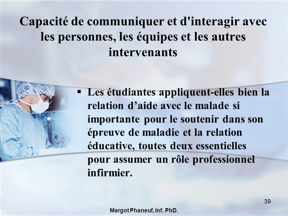 Développer une identité et un agir professionnels Nos acquis: nos étudiantes sont sensibilisées à la nécessité dêtre responsables, capables de prendre leur place au sein de léquipe interdisciplinaire; de plus, la compétence 01Q3 nous invite à nous «référer à une conception de la discipline infirmière pour définir notre pratique professionnelle.» http://www.mels.gouv.qc.ca/ens-sup/ens-coll/cahiers/program/180A0.asp 40 Margot Phaneuf, Inf.