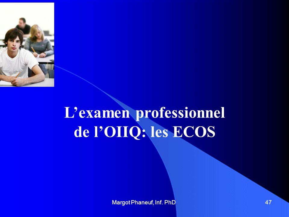 Lexamen professionnel de lOIIQ les ECOS Les acquis: Les enseignantes se sont adaptées à cette forme dexamen qui est proche de la réalité; la préparation se fait de mieux en mieux, puisque les insuccès à lexamen professionnel ont beaucoup diminué.