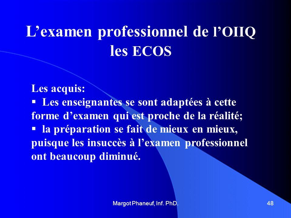 Lexamen professionnel de lOIIQ les ECOS Les acquis: Les enseignantes se sont adaptées à cette forme dexamen qui est proche de la réalité; la préparati