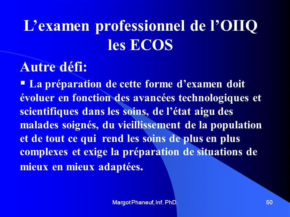 Lexamen professionnel de lOIIQ les ECOS Autre défi: La préparation de cette forme dexamen doit évoluer en fonction des avancées technologiques et scie