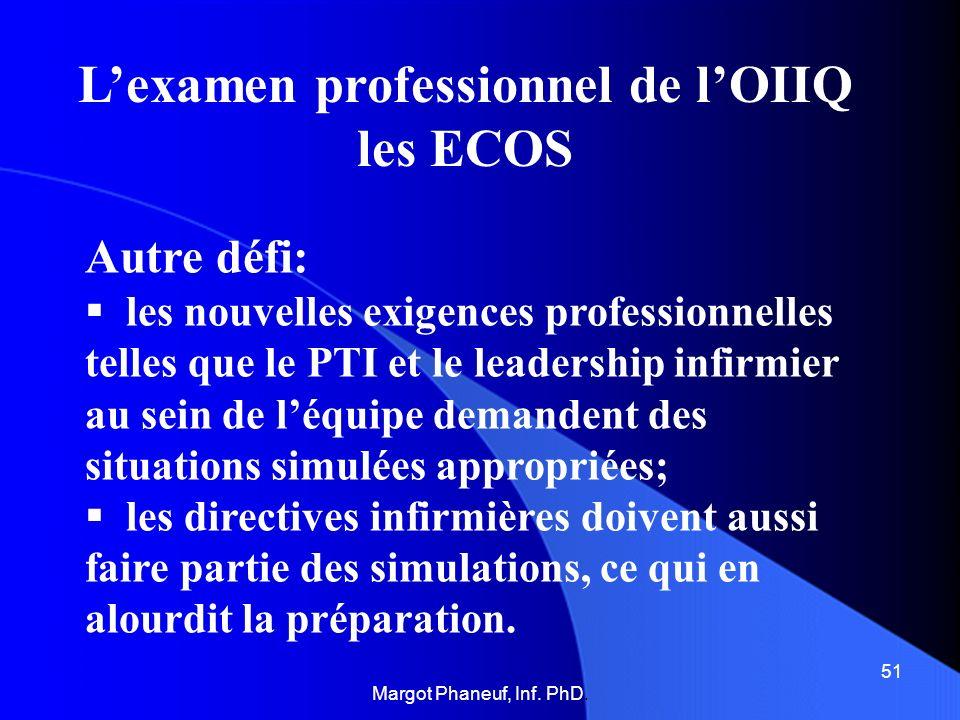 Lexamen professionnel de lOIIQ les ECOS Autre défi: les nouvelles exigences professionnelles telles que le PTI et le leadership infirmier au sein de l