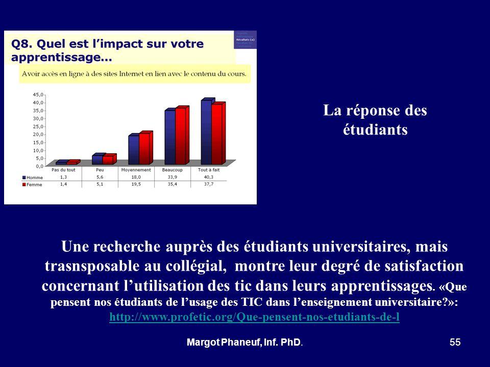 Une recherche auprès des étudiants universitaires, mais trasnsposable au collégial, montre leur degré de satisfaction concernant lutilisation des tic