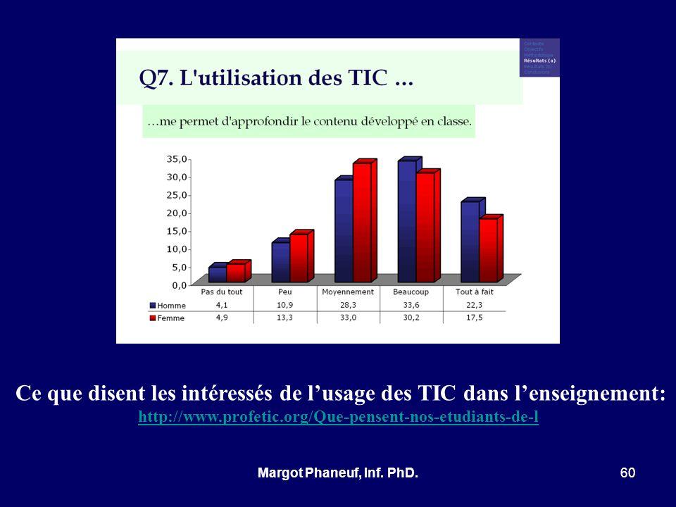 Ce que disent les intéressés de lusage des TIC dans lenseignement: http://www.profetic.org/Que-pensent-nos-etudiants-de-l 60Margot Phaneuf, Inf. PhD.