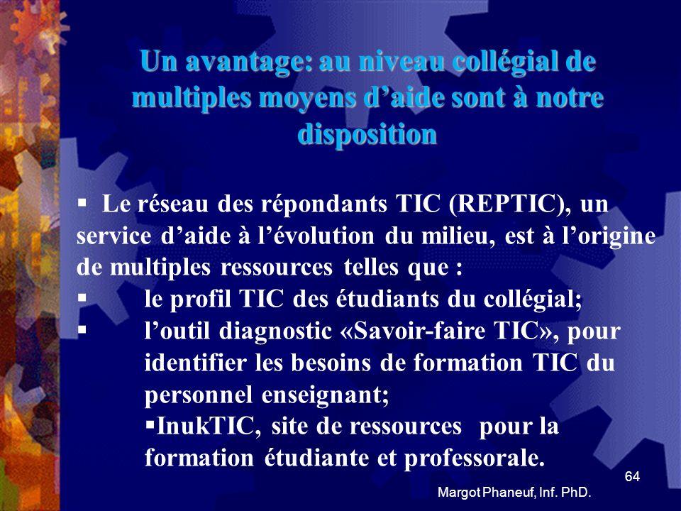 Un avantage: de multiples moyens daide sont à notre disposition: Il y a aussi: Profweb, le carrefour québécois pour lintégration des TIC; le Centre collégial de développement de matériel didactique (CCDMD), qui est une grande richesse.