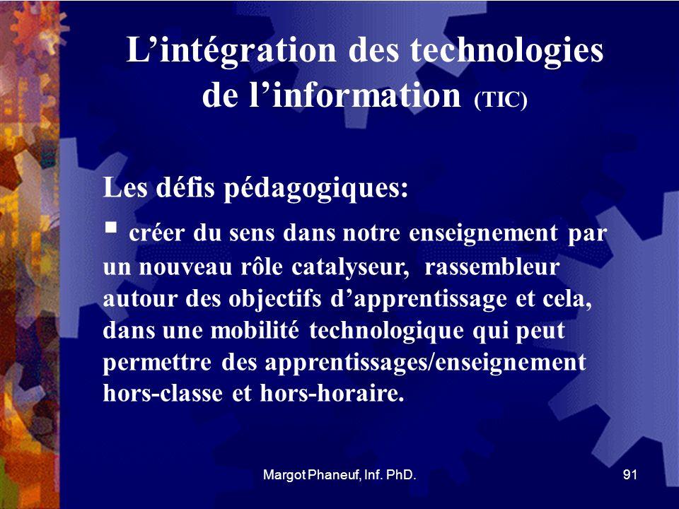 Lintégration des technologies de linformation (TIC) Les défis pédagogiques: créer du sens dans notre enseignement par un nouveau rôle catalyseur, rass