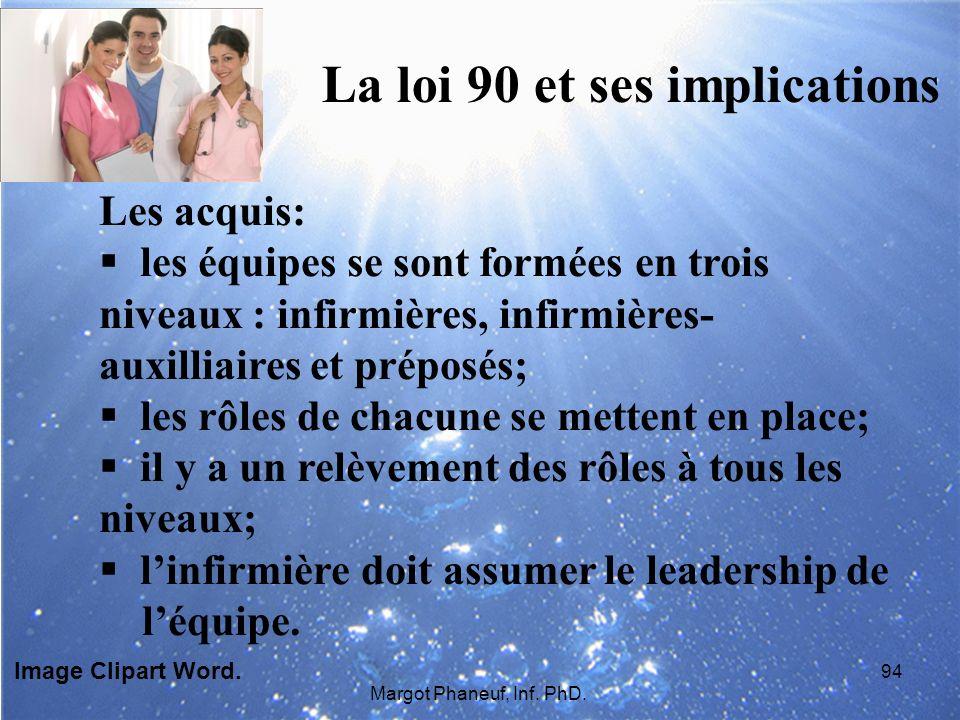 La loi 90 et ses implications Les acquis: les équipes se sont formées en trois niveaux : infirmières, infirmières- auxilliaires et préposés; les rôles