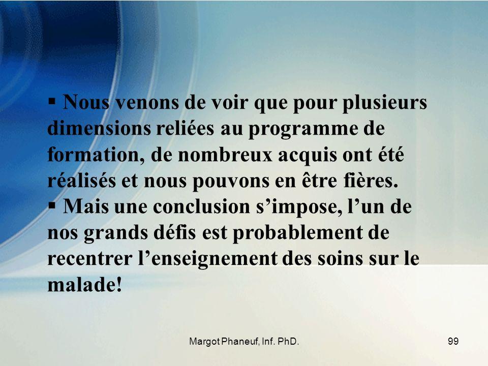 99Margot Phaneuf, Inf. PhD. Nous venons de voir que pour plusieurs dimensions reliées au programme de formation, de nombreux acquis ont été réalisés e
