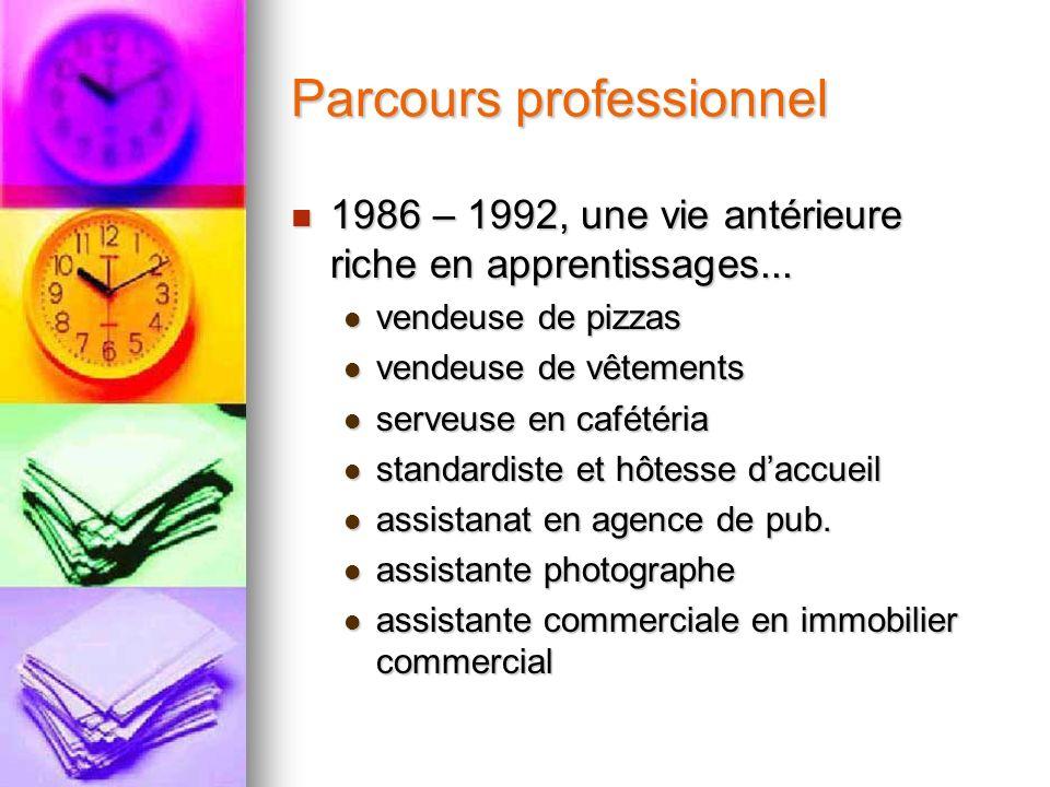 Parcours professionnel 1986 – 1992, une vie antérieure riche en apprentissages... 1986 – 1992, une vie antérieure riche en apprentissages... vendeuse