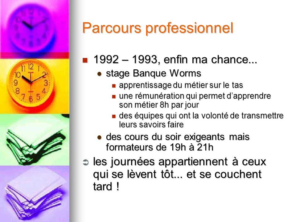 Parcours professionnel 1992 – 1993, enfin ma chance... 1992 – 1993, enfin ma chance... stage Banque Worms stage Banque Worms apprentissage du métier s